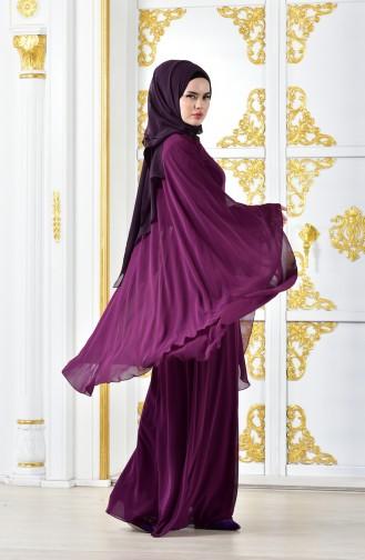 Robe de Soirée Perlées 1002-03 Plum Foncé 1002-03