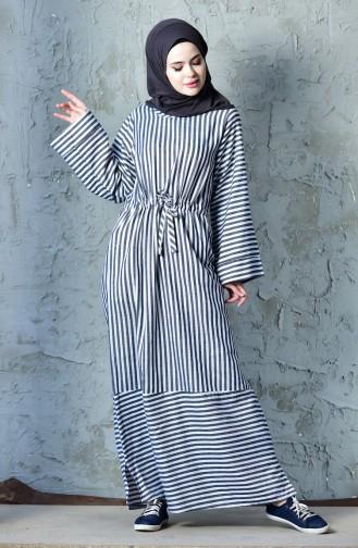 فستان رياضي بتصميم مُخطط 4402-01 لون كحلي 4402-01