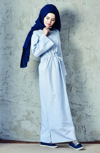 Beli Büzgülü Spor Elbise 4401-04 Mavi 4401-04