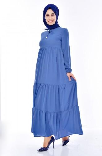 Geraftes Kleid 1029-06 Blau 1029-06