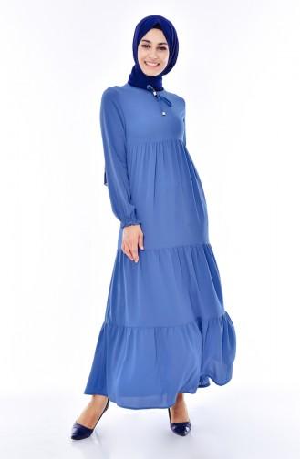 Robe Plissée 1029-06 Bleu 1029-06