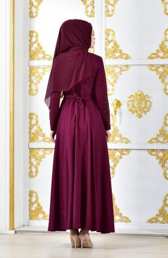 Taş Baskılı Kuşaklı Abiye Elbise 1011-04 Mürdüm