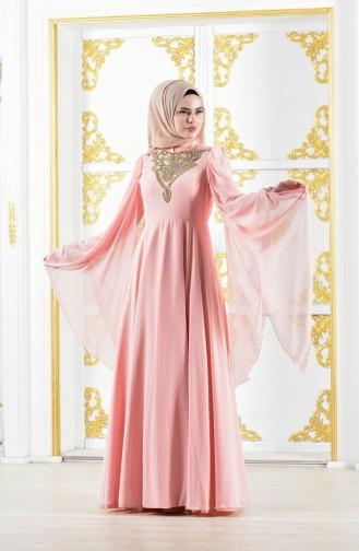 Powder Islamic Clothing Evening Dress 0105-04