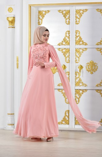 Powder Islamic Clothing Evening Dress 0150-01