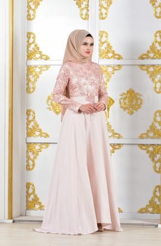 Jacquard Abendkleid mit Gürtel 11185-01 Puder 11185-01