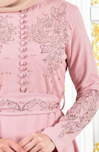 Strassstein Bedrucktes Abendkleid mit Gürtel 1011-06 Puder 1011-06