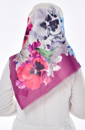 Çiçek Baskılı Tafta Eşarp 95005-06 Bordo Ekru 06