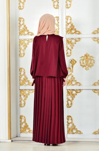 فستان سهرة بتصميم طيات مُزين الدانتيل 28378-04 لون خمري 28378-04