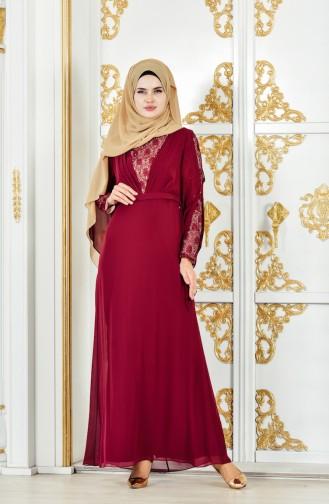 Abendkleid mit Spitzen 1284-01 Weinrot 1284-01
