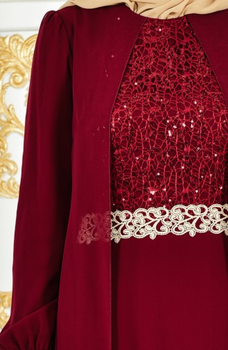 Şifon Elbise 52700-01 Bordo
