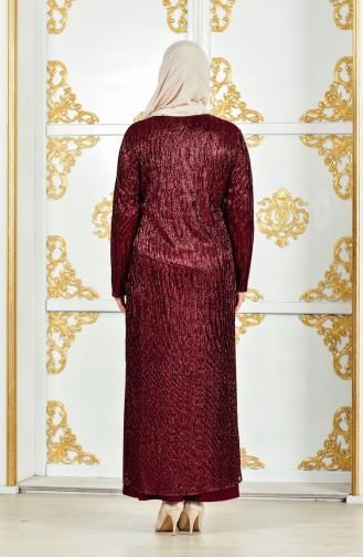 Übergröße Kleid mit Halskette 1061-02 Weinrot 1061-02