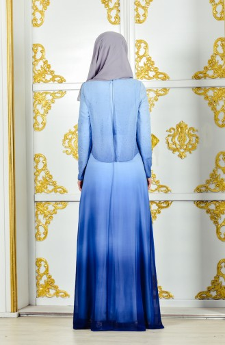 فستان سهرة بتصميم مُطبع باحجار لامعة وورد 1014-02 لون ازرق 1014-02
