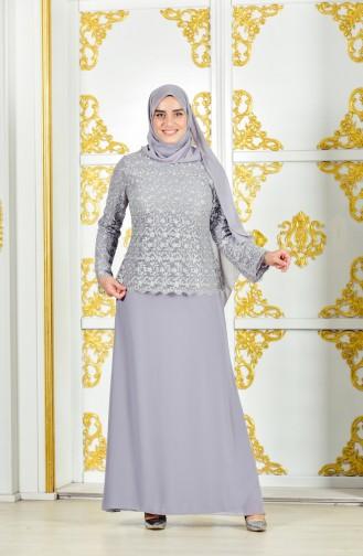 Übergröße Abendkleid mit Glitzer 4006-01 Grau 4006-01