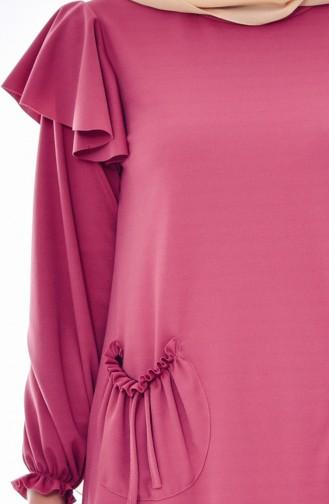 Büzgülü Cepli Elbise 3320-01 Gül Kurusu 3320-01