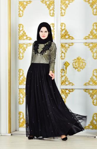 Guipure Evening Dress 31558-02 Khaki Black 31558-02