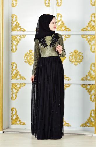 Khaki Hijab-Abendkleider 31558-02