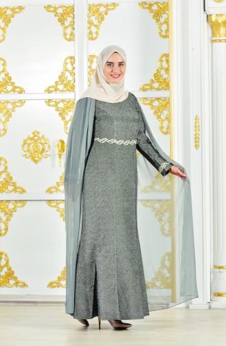 Übergröße Abendkleid mit Umhang 1275-02 Khaki 1275-02
