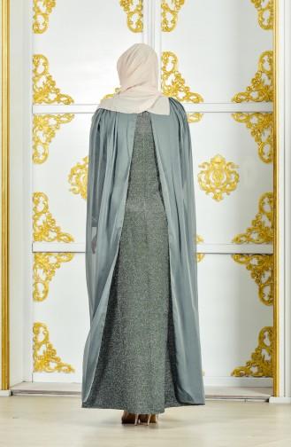 Large Size Caped Silvery Dress 1275-02 Khaki 1275-02