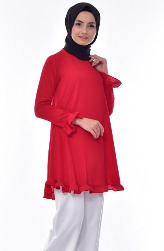 Ruffle Skirt Tunic 1013-18 Red 1013-18