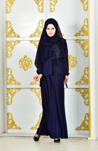 فستان سهرة بتصميم طيات مُزين الدانتيل 28378-01 لون كحلي 28378-01
