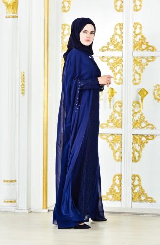 فستان سهرة بتصميم من قطعتين 1220-01 لون كحلي 1220-01