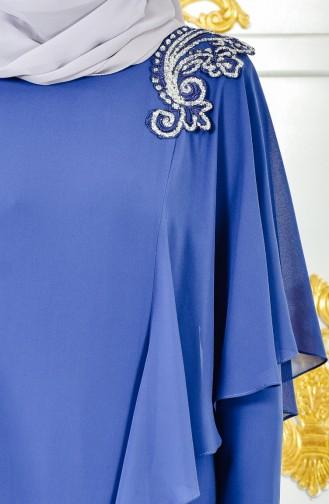 Embroidered Evening Dress 1285-02 Navy Blue 1285-02