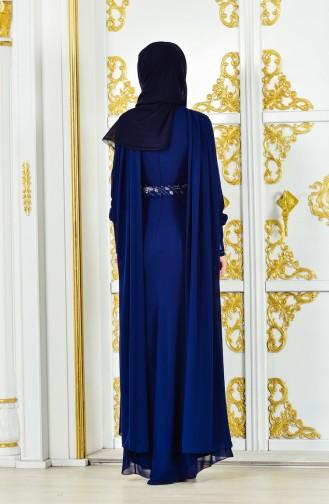 فستان سهرة بتصميم حزام للخصر مُزين بالترتر 1286-02 لون كحلي 1286-02