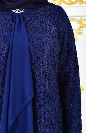 Büyük Beden Takım Görünümlü Abiye Elbise 4001-01 Lacivert 4001-01