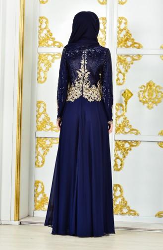 Sequined Evening Dress 8035-02Navy 8035-02