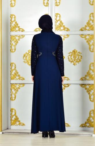 Robe de Soirée Mousseline 52701-05 Bleu Marine 52701-05