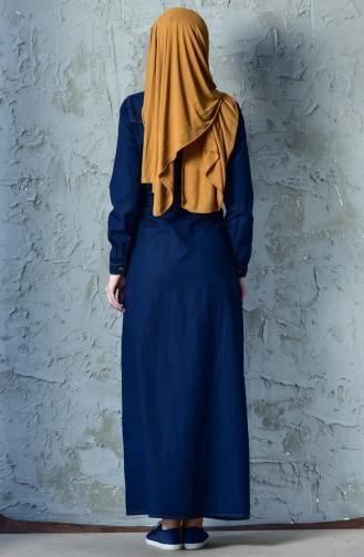 فستان أزرق كحلي 9200-01
