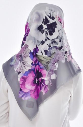 Blumen Bedruktes Taft Kopftuch 95005-12 Rauchgrau Lila 12