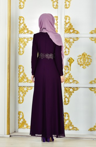 فساتين سهرة بتصميم اسلامي أرجواني 1282-02