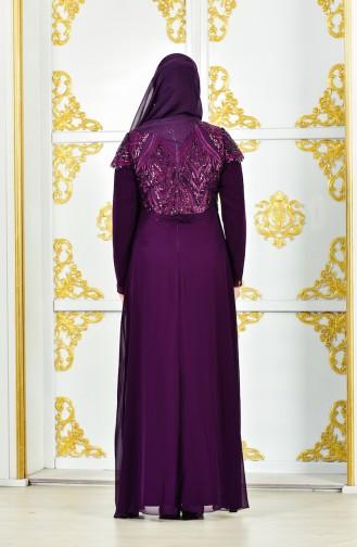 فستان يتميز بتفاصيل من الترتر بمقاسات كبيرة 4000A-01 لون بنفسجي 4000A-01