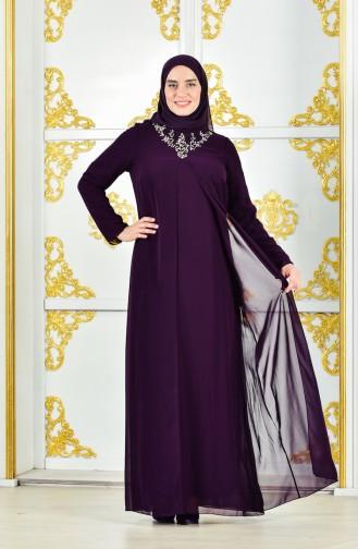 Übergröße Abendkleid mit Umhang 4002-02 Lila 4002-02