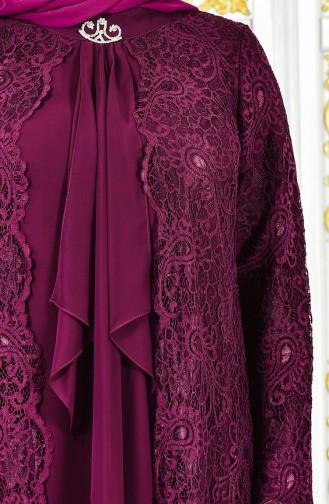 Büyük Beden Takım Görünümlü Abiye Elbise 4001-02 Mürdüm 4001-02