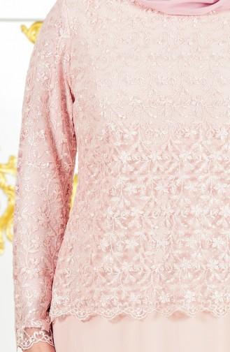 Robe de Soirée a Dentelle Grande Taille 4006-02 Poudre 4006-02