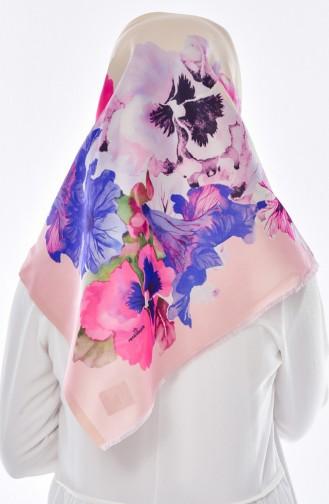 Blumen Bedruktes Taft Kopftuch 95005-04 Saks Lachs 04