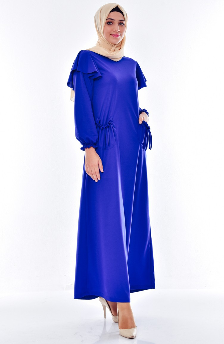 b34475653 فستان بتفاصيل من الكشكش وجيوب 3320-03 لون أزرق 3320-03