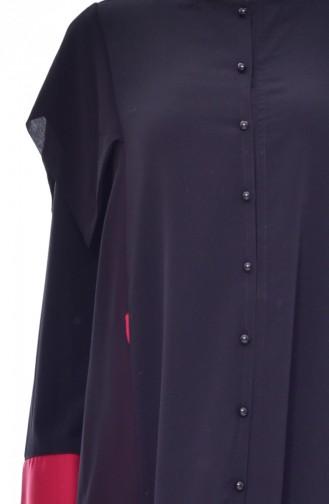 Abaya a Boutons 000011-01 Noir 000011-01