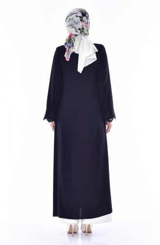 Abaya Manches Dentelle 2525-01 Noir 2525-01