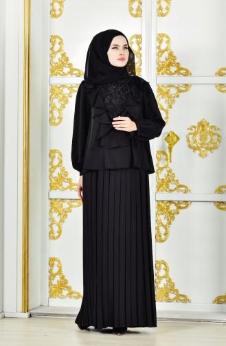 فستان سهرة بتصميم طيات مُزين الدانتيل 28378-03 لون اسود 28378-03