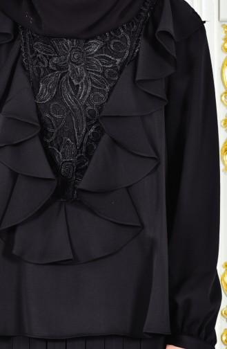 Robe de Soirée Plissée a Dentelle 28378-03 Noir 28378-03