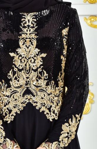 Sequined Evening Dress 8035-05 Black 8035-05