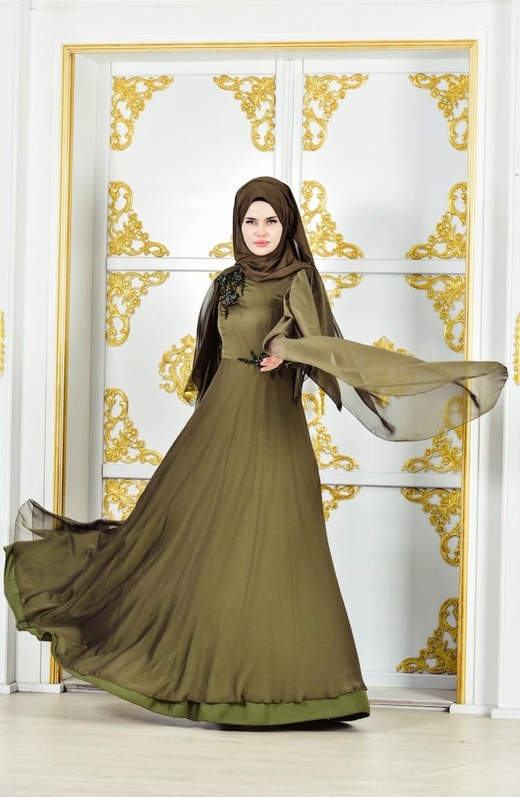 Khaki Evening Dress