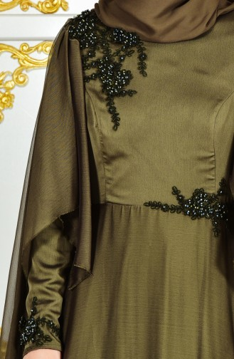 Robe de Soirée Bordée a Dentelle 0159-01 Vert Khaki 0159-01