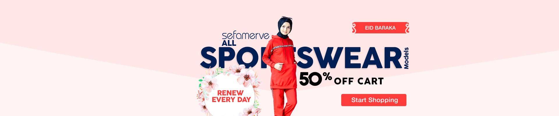 50% Off Cart on All Sefamerve Sportswear