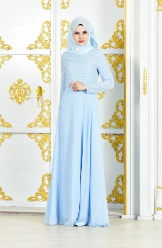 Abendkleid mit Perlen 3134-02 Baby Blau 3134-02