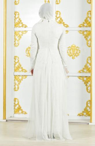 Dantelli Abiye Elbise 11188-01 Beyaz