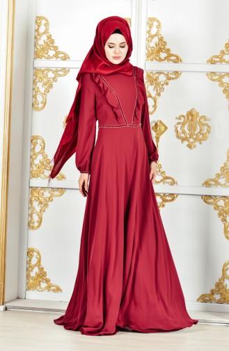 فستان شيفون بتفاصيل من الكشكش 28306-05 لون خمري 28306-05